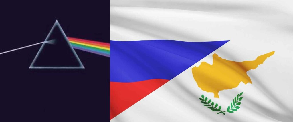 the purpose is to connect Cyprus Russia and pink Floyd to carry the message of the post across